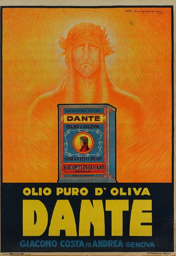 """Giorgio Muggiani: Locandina pubblicitaria olio d'oliva Dante, 1929ca., Museo Collezione Salce, Treviso. Foto """"Museo Collezione Salce"""" (http://www.collezionesalce.beniculturali.it/)"""