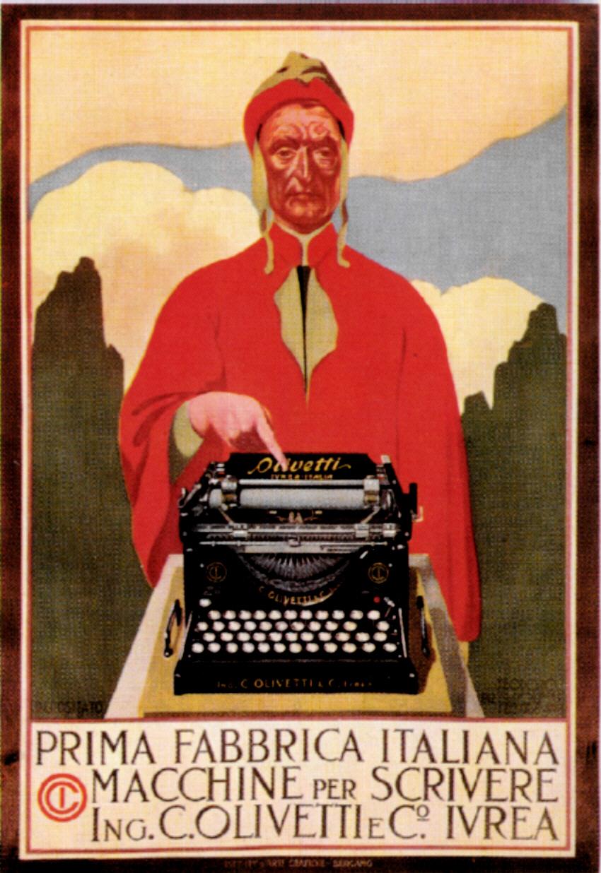 """Teodoro Wolf Ferrari, Locandina pubblicitaria della Olivetti M1, 1911, Museo Collezione Salce, Treviso. Foto """"Museo Collezione Salce""""(http://www.collezionesalce.beniculturali.it/)"""